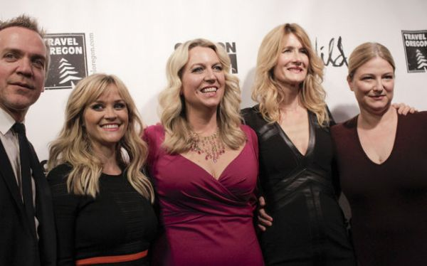 <p>Director Jean-Marc Vallee (from left to right), Reese Witherspoon, Cheryl Strayed, Laura Dern and producer Bruna Papandrea. The Portland red carpet premiere of <cite>Wild</cite>, a movie adapted from local Cheryl Strayed&#8217;s book, was held Monday at Cinema 21. The cast, including Reese Witherspoon and Laura Dern, attended. Stephanie Yao Long/<cite>The Oregonian</cite></p>