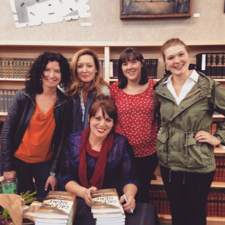 <p>Megan Kruse at her Powell&#8217;s Books reading for <em>Call Me Home</em> with (left to right) Hawthorne publicity director Liz Crain and interns Kathryn Osterndorff, Chelsea Wicks, and intern and interviewer (!) Corinne Gould.</p>