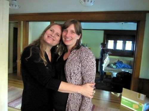 <p>Lidia Yuknavitch with KLCC&#8217;s Laura McCandlish after a recent recorded interview about <cite>The Chronology of Water</cite>.</p>