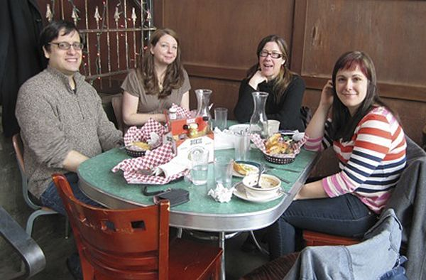 <p>Intern appreciation lunch for our spring 2011 interns (left to right: senior editor Adam O&#8217;Connor Rodriguez, intern Irene Costello, publisher Rhonda Hughes, intern Stefanie Fisher).</p>